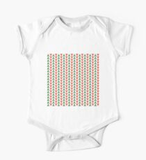 Red, green and white herring bone pattern in Christmas colours One Piece - Short Sleeve