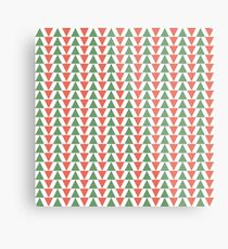 Red, green and white herring bone pattern in Christmas colours Metal Print