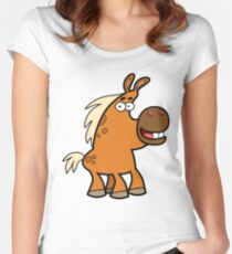 Cartoon Palomino Stud by Cheerful Madness!! Women's Fitted Scoop T-Shirt
