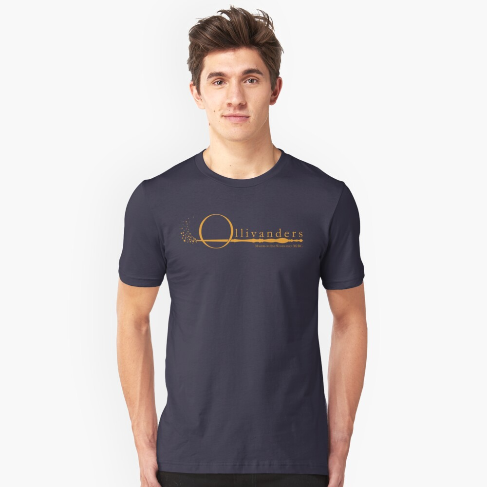 Ollivanders Logo in Yellow Unisex T-Shirt Front
