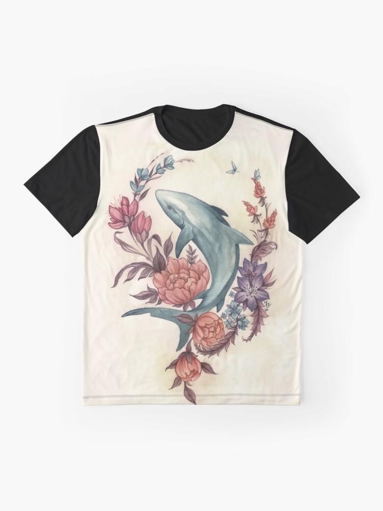 Alternative Ansicht von Blumenhai Grafik T-Shirt