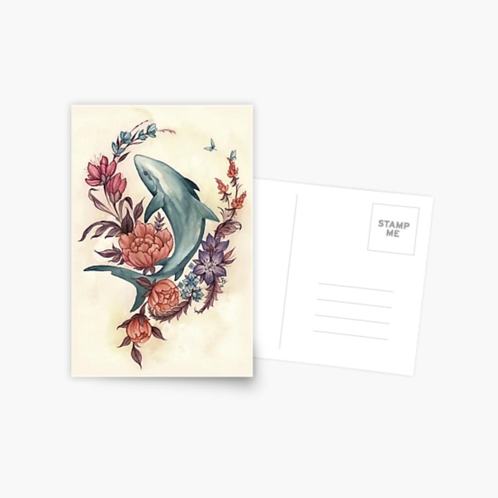 Floral Shark Postcard