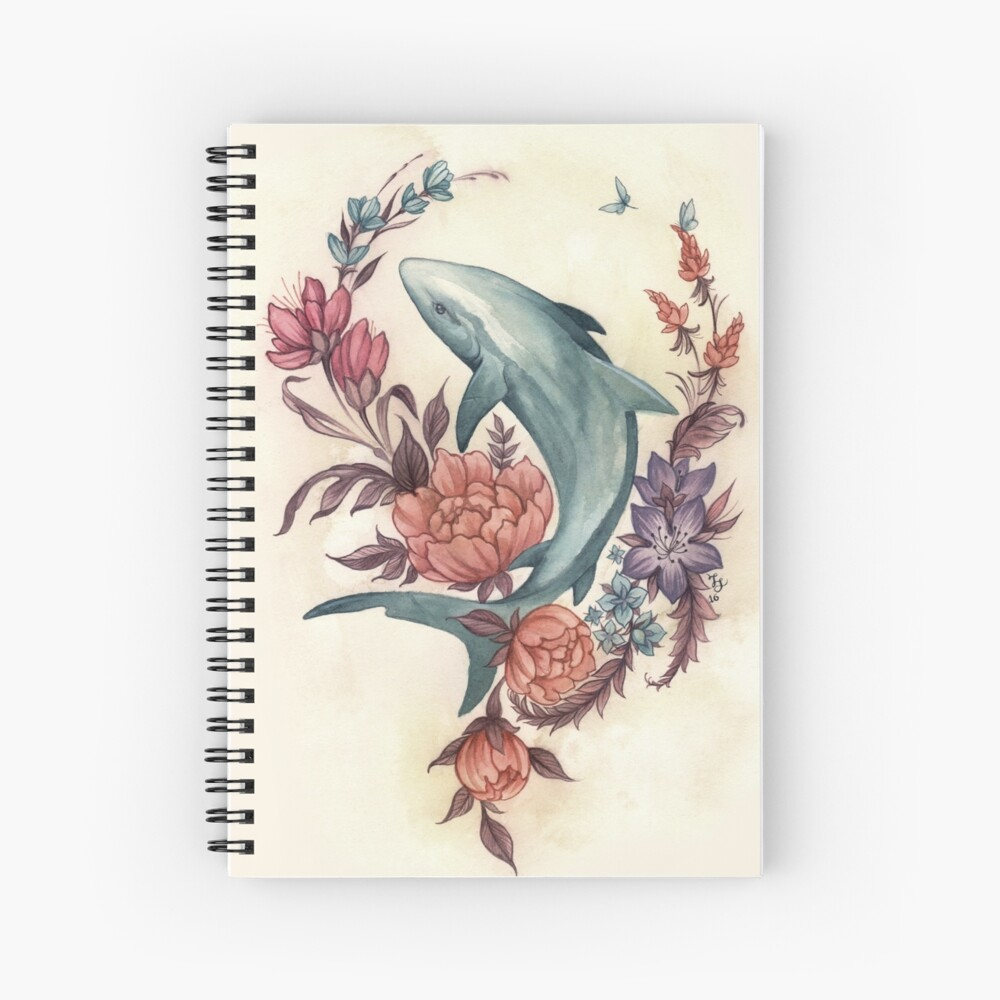 Floral Shark Spiral Notebook