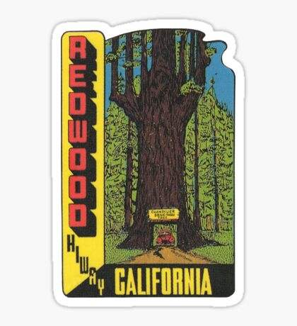 Redwood Highway Drive Thru Tree California Vintage Travel Decal Sticker