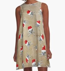 Christmas Holiday Pirate Skulls on Vintage Texture A-Line Dress