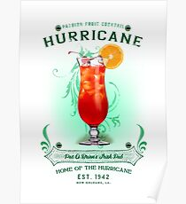 New Orleans Hurricane Cocktail Poster