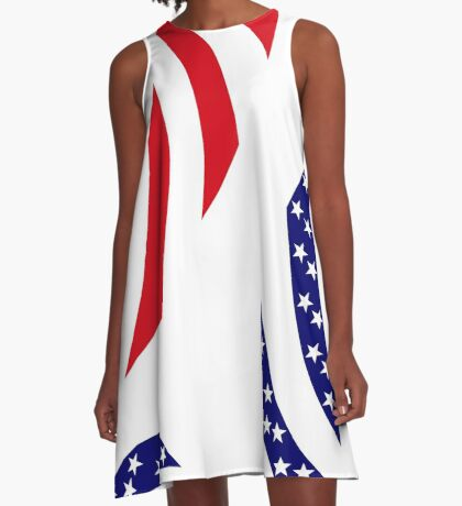 Dominica American Multinational Patriot Flag Series A-Line Dress