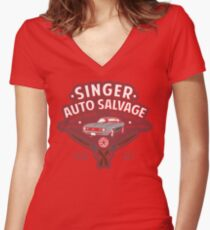 Singer Auto Salvage Women's Fitted V-Neck T-Shirt