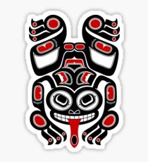 Red and Black Haida Spirit Tree Frog Sticker