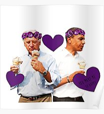 Joe Biden and Barack Obama Eating Ice Cream Poster