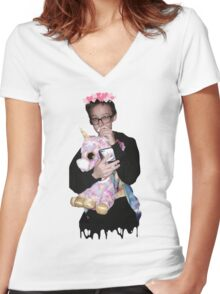 justin blake unicorn Women's Fitted V-Neck T-Shirt