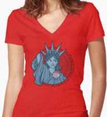 Nasty Lady Liberty Women's Fitted V-Neck T-Shirt