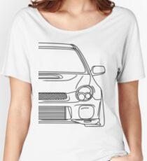 wrx sti outline - black Women's Relaxed Fit T-Shirt