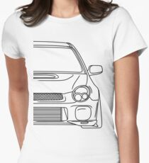 wrx sti outline - black Womens Fitted T-Shirt
