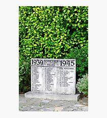 War Memorial Tablet, Shanklin Photographic Print