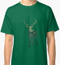 Deer and Abstract Forest Landscape Classic T-Shirt