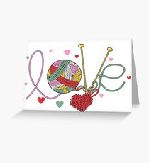 Love yarn knitting crocheting Greeting Card