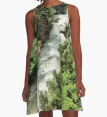 Fast moving river A-Line Dress