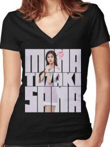 TWICE 'TT' Sana Typography Women's Fitted V-Neck T-Shirt