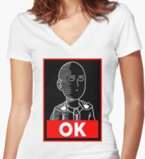 Saitama Ok Women's Fitted V-Neck T-Shirt