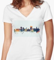 Cardiff Wales Skyline Women's Fitted V-Neck T-Shirt