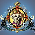 Pirate King Skull with hearts and a crown by Al Rio by alrioart