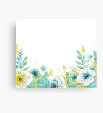 Mint gold flowers Canvas Print