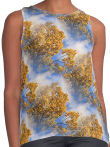Blue Sky Golden Leaves Nature Pattern Contrast Tank