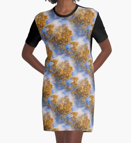 Blue Sky Golden Leaves Nature Pattern Graphic T-Shirt Dress