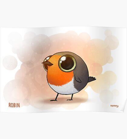 Cute Fat Robin Poster