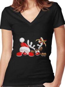 Funny Christmas Santa Women's Fitted V-Neck T-Shirt