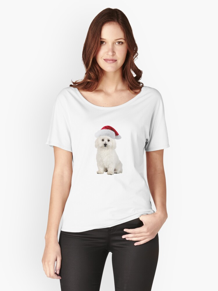 Bichon Frise Santa Claus Merry Christmas Women's Relaxed Fit T-Shirt Front