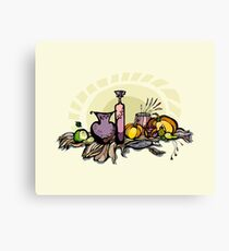 Still life with pumpkin, pear and grapes Canvas Print