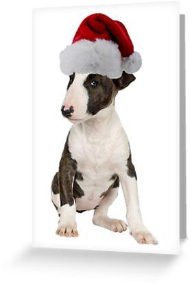 Bull Terrier Puppy Santa Claus Merry Christmas by CafePretzel