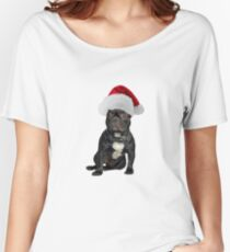 French Bulldog Santa Claus Merry Christmas Women's Relaxed Fit T-Shirt