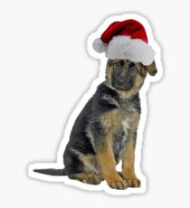 German Shepherd Puppy Santa Claus Merry Christmas Sticker