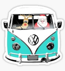 VW Camper Santa Father Christmas Aqua Sticker
