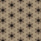 Black on Beige Sketchy Flower Repeat by WelshPixie