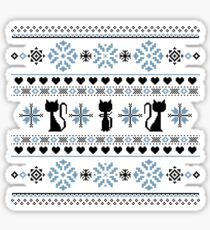 Cat Knit Pattern Blue Sticker