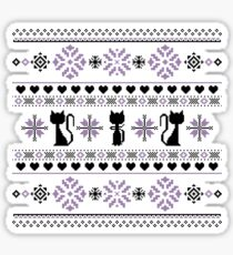 Cat Knit Pattern Purple Sticker