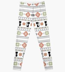 Cat Knit Pattern Christmas Leggings