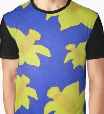 Pop Art Daffodils in Blue Graphic T-Shirt