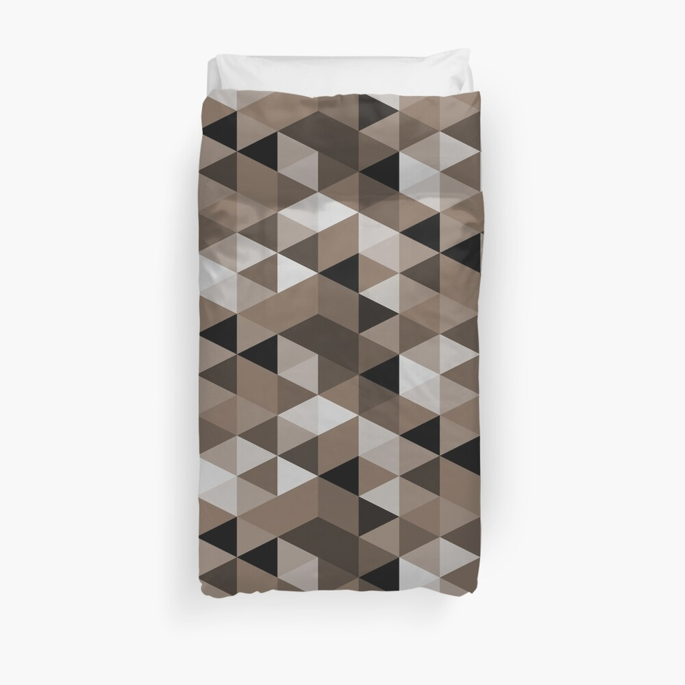 Sepia triangles pattern Duvet Cover