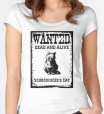 Schrödinger's cat WANTED poster Women's Fitted Scoop T-Shirt