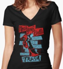 New York Dolls Trash Boots Women's Fitted V-Neck T-Shirt