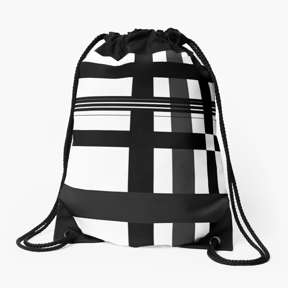 Black n' White plaid Drawstring Bag