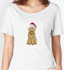 Goldendoodle Santa Claus Merry Christmas Women's Relaxed Fit T-Shirt