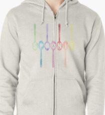 Spoonie Spoons Watercolor Zipped Hoodie