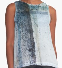 Modern Graphic Ink Design Abstract in Blue and Grey Spray Contrast Tank