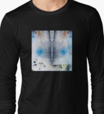 Abstract Unique Graphic ink design in blue and gold T-Shirt